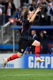 【世界盃4強 克羅地亞2︰1挫英格蘭】克羅地亞球員贏波興奮。(法新社)