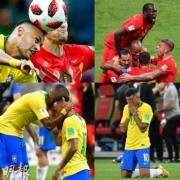 【世界盃‧8強淘汰賽】比利時(紅色球衣)以2:1擊敗巴西(黃色球衣),晉身4強。(法新社/新華社)