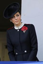 2018年11月11日,英國王室成員在倫敦出席第一次世界大戰結束100年的紀念儀式。圖為凱特。(法新社)