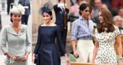 凱特(右圖前)與梅根(右圖後)這對王室妯娌愈來愈多機會同場亮相。(法新社)
