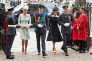 2018年7月10日,英國王室成員(左起)凱特、威廉王子、梅根和哈里王子出席皇家空軍百周年活動。(新華社)