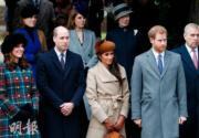 2017年12月25日,英國王室成員參加聖誕崇拜,梅根(左三)當時仍是哈里王子未婚妻,首次與未來大嫂凱特(左一)同場亮相。(法新社)