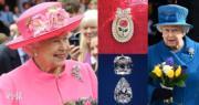 【英女王的心口針】英女王伊利沙伯二世會因應場合佩戴不同心口針。(The Royal Family facebook圖片/www.royalcollection.org.uk網站圖片/法新社)