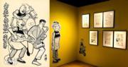 「舊情復熾︰老夫子AND蘇富比」展售會展覽中,展出老王澤在1964年創作、現存最早的老夫子彩色封面原稿《搖滾老夫子》(左圖)。(葉詠珩攝)
