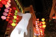 2018年9月21日,灣仔利東街「月兔‧秋燈」主題展覽(新華社)