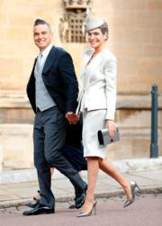 【尤金妮亞公主婚禮】英國歌手Robbie Williams(左)與太太Ayda Field(法新社)