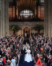 2018年10月12日,英國尤金妮亞公主與Jack Brooksbank在溫莎堡聖喬治教堂舉行婚禮。(法新社)