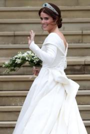 2018年10月12日,英國尤金妮亞公主(圖)與Jack Brooksbank在溫莎堡聖喬治教堂行禮。(法新社)