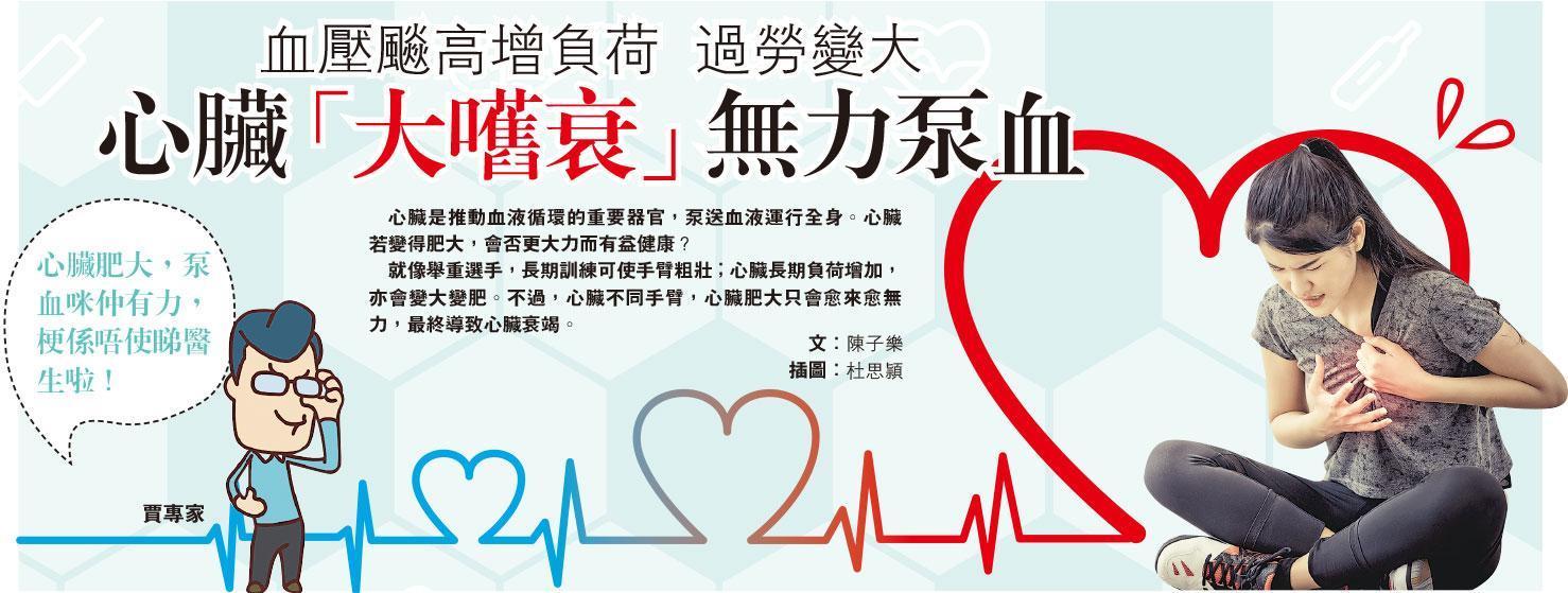血壓飈高增負荷 過勞變大 心臟「大嚿衰」無力泵血