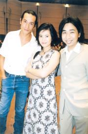 1999年明報四十周年報慶酒會,(左起)陳豪、藍潔瑛、許願(資料圖片)