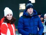 【外訪挪威】2018年2月2日,英國劍橋公爵威廉王子(右)及夫人凱特(左)到訪挪威奧斯陸滑雪場。(法新社)