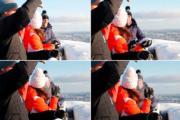 【外訪挪威】英國劍橋公爵夫人凱特(背向鏡頭)拿起雪球擲向威廉王子。(法新社)