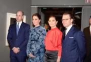2018年1月31日,(左起)英國威廉王子、凱特、瑞典女王儲維多利亞公主和丈夫Prince Daniel(Kensington Palace twitter圖片)