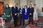(左起)凱特、英國威廉王子、瑞典國王王后、瑞典女王儲的丈夫、瑞典女王儲維多利亞公主 (法新社)