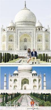 2016年4月,英國威廉王子與妻子凱特的印度和不丹之旅去到最後一天,二人跟隨威廉亡母戴安娜的舊步,到名勝泰姬陵留影 (上圖)。戴安娜當年與丈夫王儲查理斯同訪印度,她到訪泰姬陵期間,查理斯出席另一活動,她獨自坐在陵前長椅(下圖)。