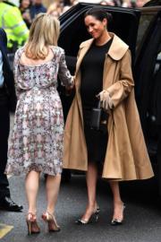 2019年1月10日,梅根(右)穿上Hatch的孕婦裙裝Eliza Dress及Oscar De La Renta長外套,腳踏斗零高踭鞋出席活動。(法新社)