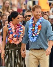 2018年10月19日,英國薩塞克斯公爵伉儷哈里王子(右)與梅根(左)(法新社)