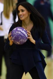 2018年9月24日,英國薩塞克斯公爵夫人梅根出席活動。梅根當時屬懷孕初期,王室未對外公布喜訊。(法新社)
