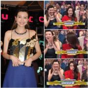 在勁歌頒獎禮上,菊梓喬獲頒最受歡迎女歌星獎,身旁的吳若希笑得好誇張,被指表現浮誇。(娛樂組攝/無綫電視網上視頻截圖)
