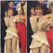 謝文欣在勁歌頒獎禮獲頒新人獎時,喜極而泣變喊包,更喊到抽搐,完全聽不清楚她的致謝內容。(娛樂組攝)