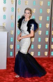 「小丑女」瑪歌羅比選擇了Chanel的2019年春裝作為她的BAFTA戰衣。(Getty Images)