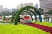 【香港花卉展覽2019】「夢想號列車」花壇設計糅合鐵路和月台元素。(陳翠美攝)