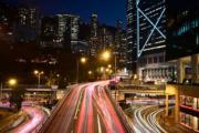 【Long Exposure長時間曝光攝影】2019年2月28日,香港車輛光軌。(法新社)