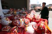 【復活節x復活蛋】克羅地亞薩格勒布(Zagreb)廣場的復活節彩蛋。(新華社,攝於2019年4月17日)