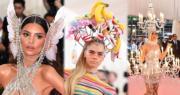 2019年5月6日,Met Gala「紐約大都會博物館慈善晚宴」在美國紐約舉行,一眾藝人以華衣美服突顯誇張打扮。左圖起:愛美莉拉塔歌夫斯基(Emily Ratajkowski)、Cara Delevingne、Katy Perry 。(法新社)