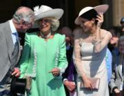 (左起)英國王儲查理斯及夫人卡米拉、梅根(法新社)