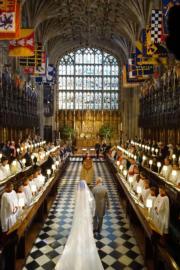 英國哈里王子與梅根於2018年5月19日在溫莎堡聖喬治教堂舉行婚禮。(法新社)