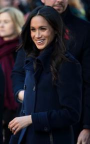 哈里王子未婚妻馬克爾首度參加英國王室慈善活動。(新華社)