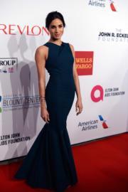 2014年10月28日,美國演員馬克爾(Meghan Markle)在美國紐約出席活動 (Elton John AIDS Foundation's 13th Annual An Enduring Vision Benefit) 。(法新社)