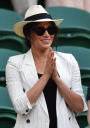 2019年7月4日,梅根在倫敦觀賞2019溫布頓女單比賽。(法新社)
