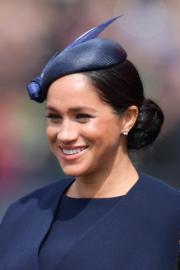 2019年6月8日,梅根參加英女王伊利沙伯二世93歲官方壽辰閱兵巡遊慶祝活動。(法新社)
