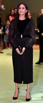 2018年9月25日,英國薩塞克斯公爵夫人梅根在倫敦皇家藝術研究院(Royal Academy of Arts)出席活動。(法新社)