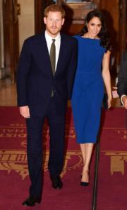 2018年9月6日,英國薩塞克斯公爵伉儷哈里王子(左)和梅根(右)在倫敦出席100 Days to Peace音樂會。(法新社)