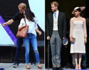 哈里王子與梅根。左圖攝於2017年9月25日、右圖攝於2018年5月22日。(法新社)