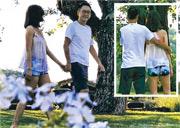 李嘉欣著透視裝與夫拖手漫步