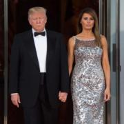 美國總統特朗普(左)與夫人梅拉尼婭(右)(法新社)
