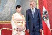 【日本佳子公主訪奧地利】2019年9月16日,佳子公主(左)與奧地利總統范德貝倫(右) (法新社)