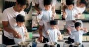 黎諾懿與「小春雞」玩煮飯仔。(Ig圖片/明報製圖)