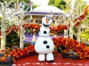 【A Disney Christmas@香港迪士尼】夢想花園魔雪奇緣小鎮:小白隨時驚喜現身與大家打卡影相。(黃詠賢攝)