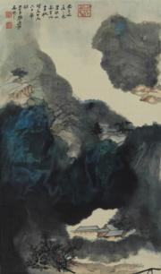 香港藝術館「眾樂樂──至樂樓藏品選」展覽,圖為張大千《潑彩山水》(圖片由相關機構提供)