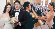 內地知名鋼琴家郎朗今年6月迎娶德韓混血兒吉娜愛麗絲,兩人在法國凡爾賽宮舉行婚禮,周杰倫夫婦、美國歌手John Legend與太太也是座上客。(資料圖片 / 明報製圖)