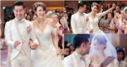 李璧琦(Becky)與拍拖5年的圈外男友蘇銘熙(Adrian),今年7月在位於中環的教會內舉行婚禮。(李璧琦Instagram圖片 / 明報製圖)
