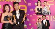 千嬅﹑施嬅﹑柏豪﹑馬明和紅姐在台慶頒獎禮大豐收。(娛樂組攝)