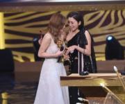 見證好姊妹希洛獲獎,黃智雯依然難掩激動。(娛樂組攝)
