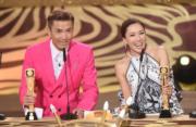 陳山聰和李施嬅這對好拍檔奪最受歡迎電視拍檔獎。(娛樂組攝)