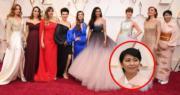 首次踏足奧斯卡舞台的日本女星松隆子,以和服打扮踏上紅地氈。(法新社/明報製圖)